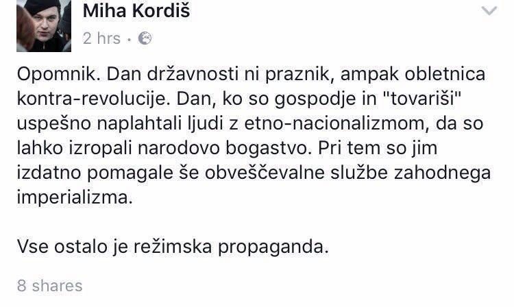 Poslanec DZ Miha Kordi blati in ne priznava Slovenije