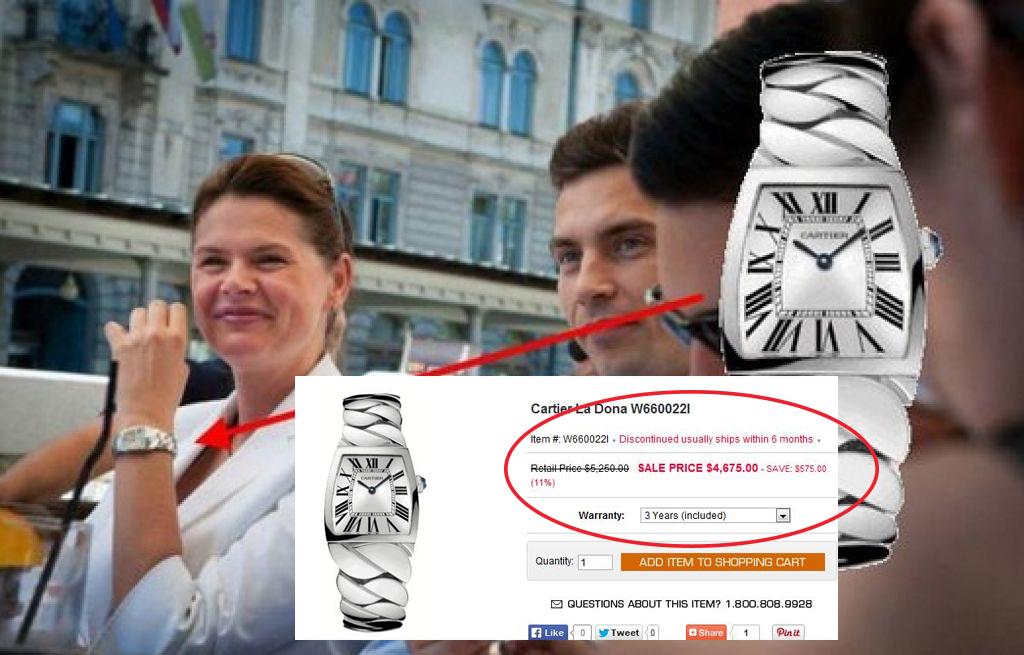 Alenka Bratušek in nekaj tisoč evrov vredna ura
